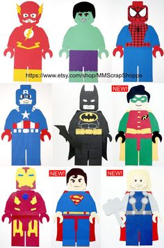 "LEGO Superhero Party Decorations - made from cardstock, ~16"" tall, fun for bedroom decor!"