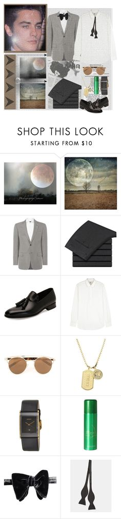 """Heavenly Club"" by lablanchenoire ❤ liked on Polyvore featuring Armani Collezioni, Salvatore Ferragamo, Kent & Curwen, Topman, Versace, Rado, Ted Baker, men's fashion and menswear"