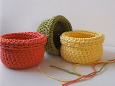 Crocheted Storage Baskets, Organizers, Crocheted Housewares, Set of 3, Coral, Moss, Yellow,  MADE TO ORDER