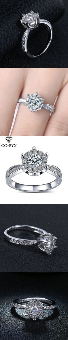 Elegant Rings with Austrian Crystal White Gold Plated Wedding Rings for Women CZ Diamond Jewelry Engagement Accessories CC093