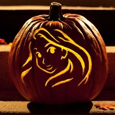 Bring Rapunzel down from the tower and into your window with this pumpkin-carving template.