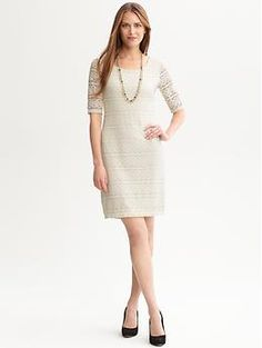 This silhouette is so in right now! Three-quarter sleeve lace knit dress | Banana Republic