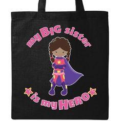 Inktastic My Big Sister Is My Hero Tote Bag Sibling Super Powers Little Brother Manga Anime Superman Avenger Captain Dark Hair Purple Cape Supergirl Wonder Woman Powerpuff Pink Star Reusable Grocery Book, Women's, Black