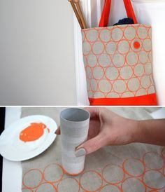 DIY Toilet Paper Roll Printing on fabric -- tutorial from Lime Riot: http://limeriot.blogspot.ch/2012/08/toilet-paper-roll-printing-tutorial.html