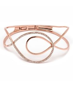 Another great find on #zulily! Rose Gold & White Natural Crystal Swirl Hinge Bangle #zulilyfinds