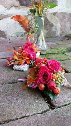 Blossom Bliss Florist Wrist Corsage: bright pink+orange