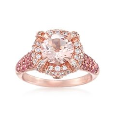 1.60 Carat Morganite and .50 ct. t.w. Pink Tourmaline Ring With White Zircons in 14kt Rose Gold Over Sterling | #833571 @ ross-simons.com