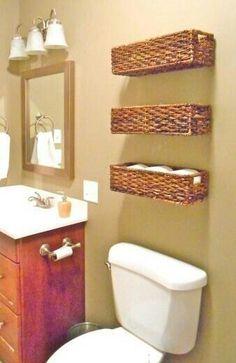 Wicker baskets as small bathroom storage Toilet Storage, Bathroom Storage, Bathroom Baskets, Bathroom Ideas, Design Bathroom, Bathroom Shelves, Bathroom Interior, Toilet Shelves, Bathroom Layout