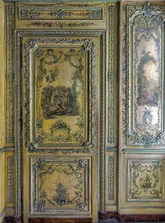 panelled walls, panelled room, mill work, old interior, decorative walls, Cabinet des poètes -
