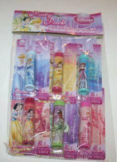 Disney Princess 6 Flavored Lip Balms Stick by Lotta Luv. $14.95. 6 Pack flavored lip balm. Net wt .15oz per unit. 1 Blueberry/1 Watermelon/1 Fairest apple/1 pink lemonade/1 Grape/1 Lovely Cherry. Disney Princess Flavored Lip Balm Party Pack - 6 Pack