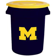 """Team Brute Brute 32 Gal Michigan Wolverines Trash Container with Lid Our resident Michigan fan says """"Go Blue!"""" #Restockit"""
