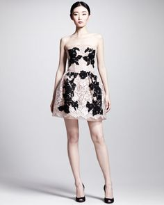 Strapless Full-Skirt Lace Dress by Dolce & Gabbana