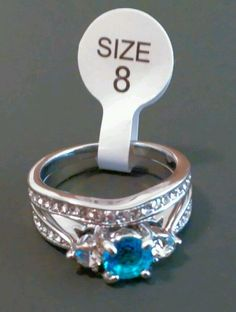 Blue CZ Engagement Ring Wedding Band Set 8 White Gold Plated Jewelry Fashion New