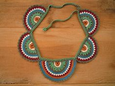 rainbow crochet necklace, teal multicolored by PashaBodrum on Etsy https://www.etsy.com/listing/240102726/rainbow-crochet-necklace-teal