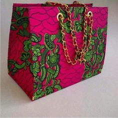 Pink and Green African print bag