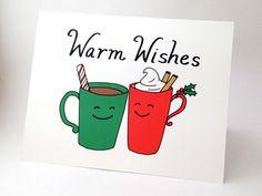Funny Christmas Card // Punny Happy Holidays Card // Unique Christmas Card // Whimsical Holiday Card // Cute Xmas Card // Warm Wishes Mugs