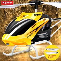 원래 syma w25 2 채널 2 채널 실내 미니 rc 헬리콥터 드론 자이로 충돌 방지 아기 toys, 빨간색, 노란색
