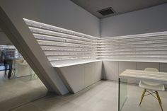 Optique Ampere optical shop by Cyrille Druart, Grenoble France store design Design Blog, Store Design, Commercial Design, Commercial Interiors, Optic Shop, Facade Lighting, Showroom Design, Beauty Salon Interior, Retail Shop