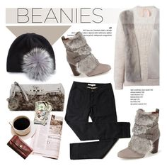 """Hat Head: Beanies"" by helenevlacho ❤ liked on Polyvore featuring Louise et Cie, Portolano, GUESS, N°21, beanies and contestentry"