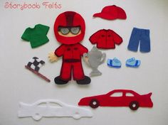 Felt My Little RaceCar Driver Felt Doll Dress Up by StorybookFelts