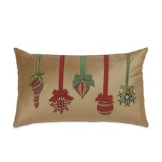 Eastern Accents Deck The Halls Festive Ornaments Down Lumbar Pillow