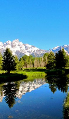 Leigh lake in the Tetons.  This is a must do for a early morning hike and swim.  It has a beach :)