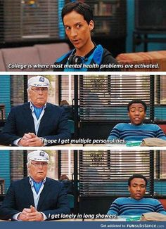 Community is seriously the best show ever. Community Memes, Community Tv Show, Community College, Miss Fisher, Brooklyn 9 9, Blackadder, Donald Glover, Mental Health Problems, Tv Quotes