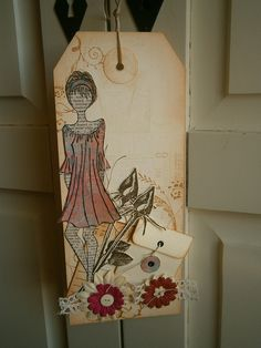 Label I made with my new Julie Nutting Mixed Media Doll stamp.
