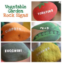 Vegetable Garden Rock Signs - SO Cute! Going to add these to the garden next year.