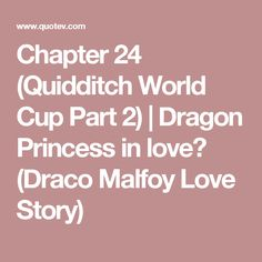 Chapter 24 (Quidditch World Cup Part 2) | Dragon Princess in love? (Draco Malfoy Love Story)