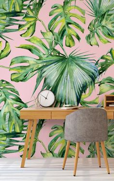 Brighten up any room with a pink and green wallpaper mural, a timeless piece that will create a fresh, clean look with a hint of botanicals. This pink palm tree mural wallpaper from wallsauce.com will infuse your home with 2019's biggest trends. View more at wallsauce.com. Murals are custom printed to fit your wall dimensions. #wallpaper #palmtree #pinkwallpaper #urbanjungle #homeofficeideas