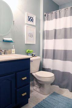 A Little Bathroom Refresh - Boys bathroom - Bathroom Decor Blue Bathrooms Designs, Grey Bathrooms, White Bathroom, Master Bathroom, Downstairs Bathroom, Kid Bathroom Decor, Bathroom Renos, Bathroom For Kids, Simple Bathroom