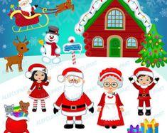 Arte Digital de la Navidad Santa Imágenes por lauriefurnelldesigns