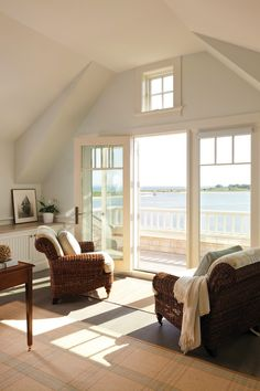 Gorgeous Beach House Master Bedroom. Love the leather chairs facing the amazing view of the Ocean! Hutker Architects  Falmouth & Nantucket & MV