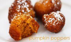 Pumpkin Poppers: bite sized pumpkin spice cake doughnuts.