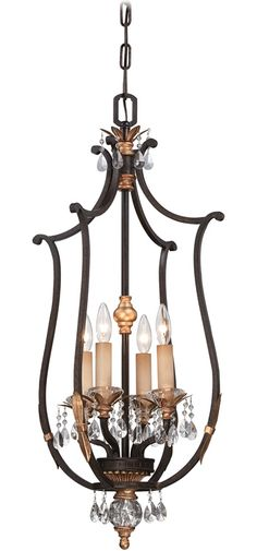 Minka Bella Cristallo Foyer Pendant - French Bronze with Gold Leaf Highlights, Clear Eidolon Crystal, Pleated Champagne Cloth Shades - Antique Reproduction Foyer Pendants & Lanterns - Deep Discount Lighting Lantern Pendant, Chandelier Lighting, Light Pendant, Bronze Pendant, Chandeliers, Metropolitan Lighting, Gold Highlights, Ceiling Medallions, Minka