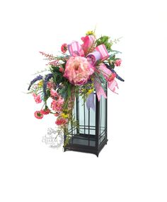 Spring lantern swag in pink and lavender with pink peony by www.southerncharmwreaths.com