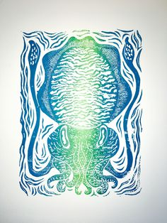 Items similar to Cuttlefish linocut print - vertical aqua fade. on Etsy Cuttlefish, Linocut Prints, Aqua, Tapestry, Colours, Artwork, Etsy, Hanging Tapestry, Water