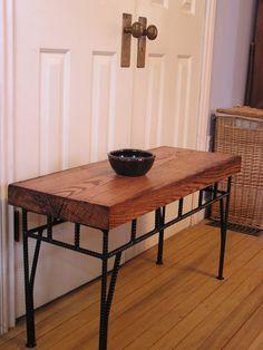 Rustic Industrial Side Table Custom Sofa Rebar Table by SoulSeeds