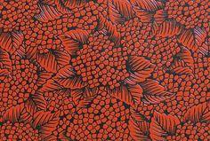 Une multitude d'hortensias rouge sur fond noir laque Urushi pour les-papiers-de-lucas.