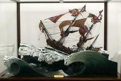 YINKA SHONIBARE, MBE  La Méduse, 2008  Wood, foam, plexiglas, Dutch wax-printed fabric, and acrylic paint  83 1/2 X 66 X 54 inches