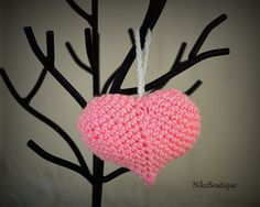 Handmade crochet Valentine's Day heart. by NikoBoutique on Etsy