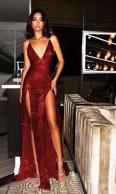 Sparkly Prom Dresses Burgundy V-neck Long Prom Dress with Slit Sexy Evening Dress Elegant Dresses, Pretty Dresses, Sexy Dresses, Long Dresses, Dress Long, Prom Dresses Dark Red, Red Dress Prom, Summer Dresses, Red V Neck Dress