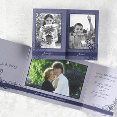 Reminisce with two of your favorite photos from childhood along with a recent photo together! The front will feature childhood photos and each of your names under your respective photo. Your save the date verse and a photo of you as a couple will be featured inside. Perfect for a purple wedding.