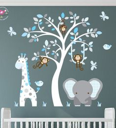 Jungle Wall Stickers, Blue and Grey Nursery Decals