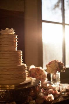 Stunning cake by Gold Leaf Confections for Quyen and Erwin's celebration at Soda Rock