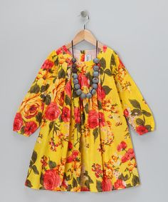 Take a look at this Gold Floral Dress & Necklace - Toddler & Girls by Yo Baby on #zulily today!