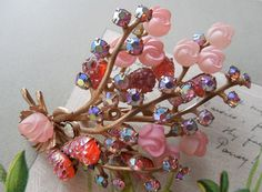 Vintage Pink & Coral BEAU JEWELS  Molded Art Glass Brooch