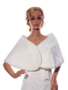 Topwedding Ivory Faux Fur Bridal Wrap Features by Single Chinese Button Woman Shawl Topwedding. $26.25