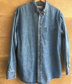 Women's Fieldmaster Denim Blue Jean Button Front Long Sleeve Shirt Large  #Fieldmaster #ButtonDownShirt #Any